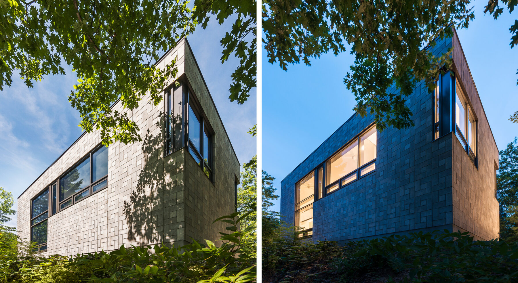 Exterior shot of Chelsea Hill House during daytime and nighttime
