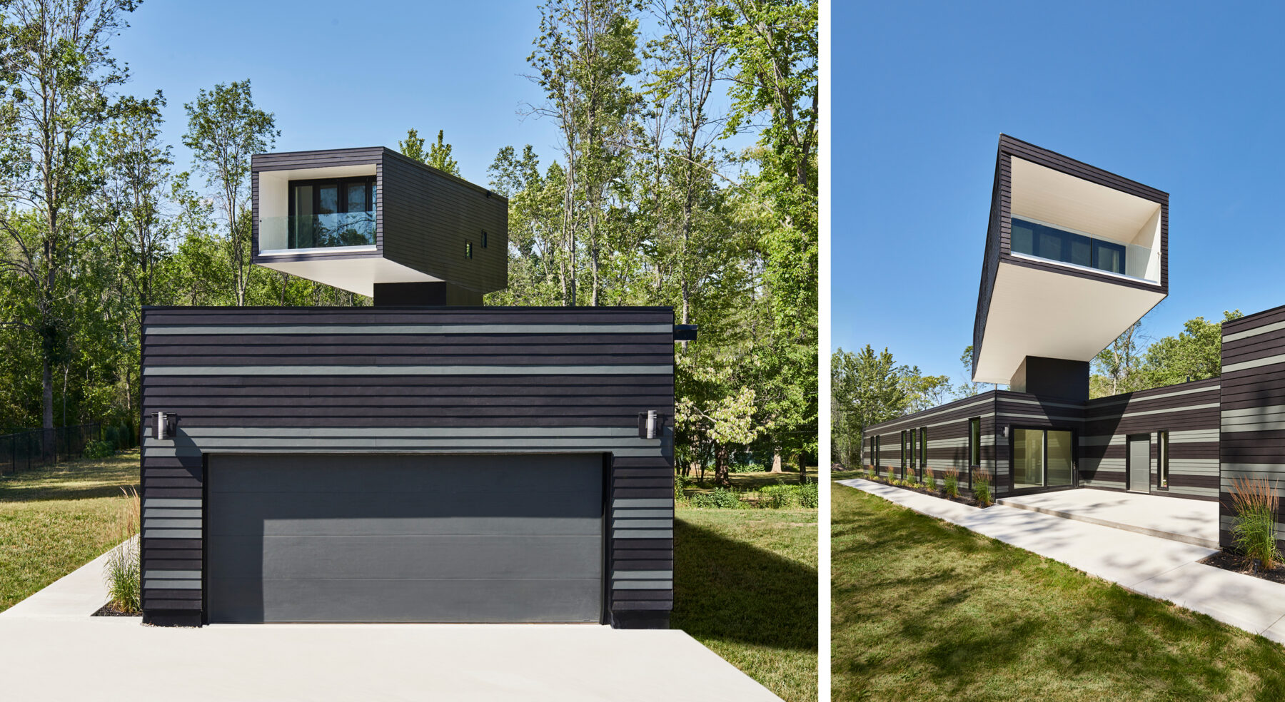 Split view of A Bower House front garage and entry