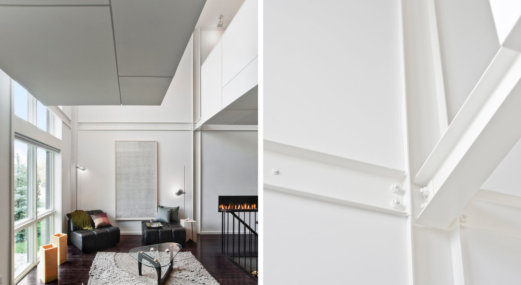 Split view of Echo House living area and details