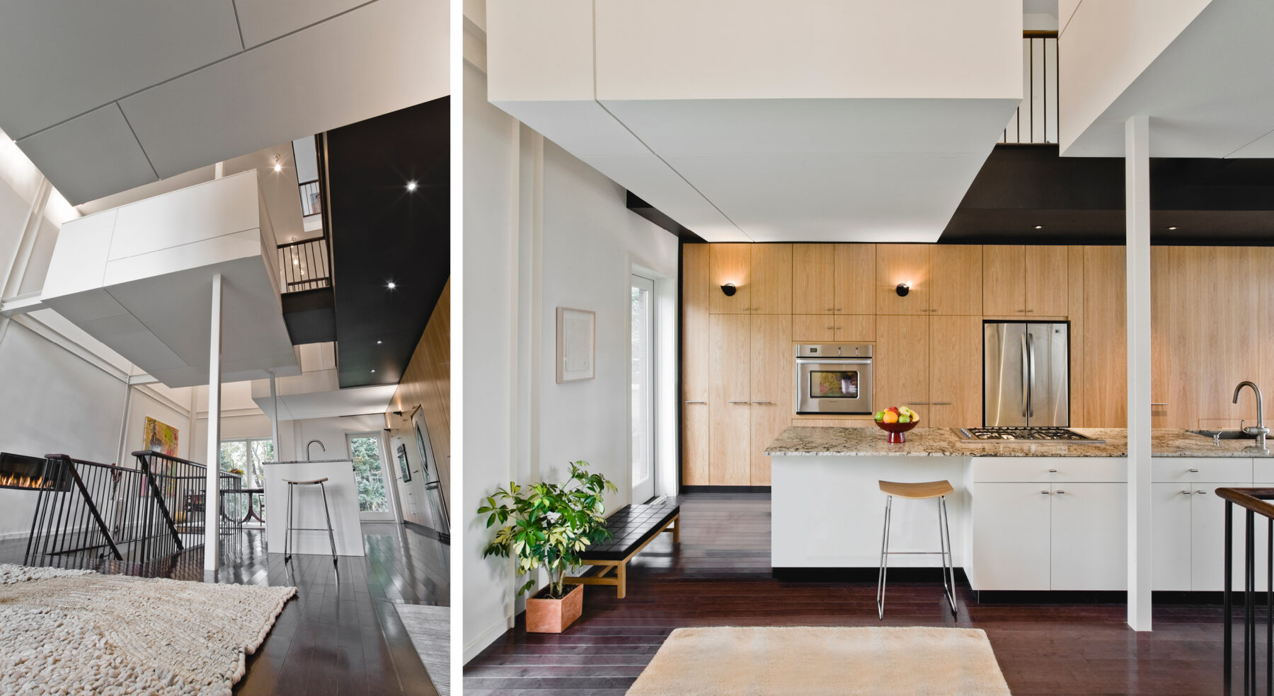 Split view of Echo House from entry and front-view of kitchen