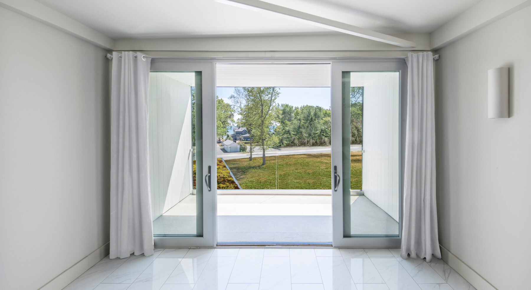View out of A Bower House master bedroom doors