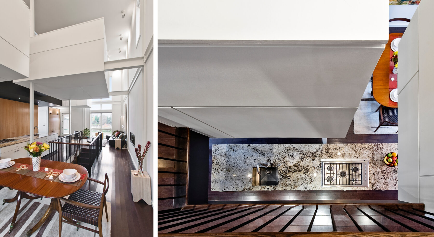 Split view of Echo House dining area and top-down view into kitchen