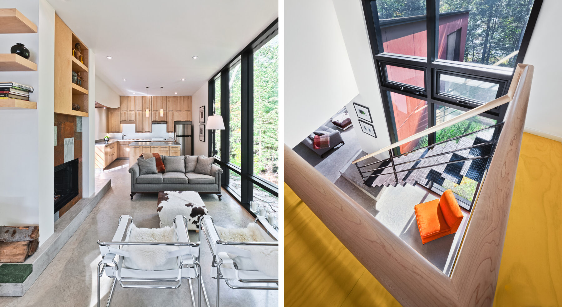 Split view of Hill-Maheux Cottage living area, kitchen and staircase details
