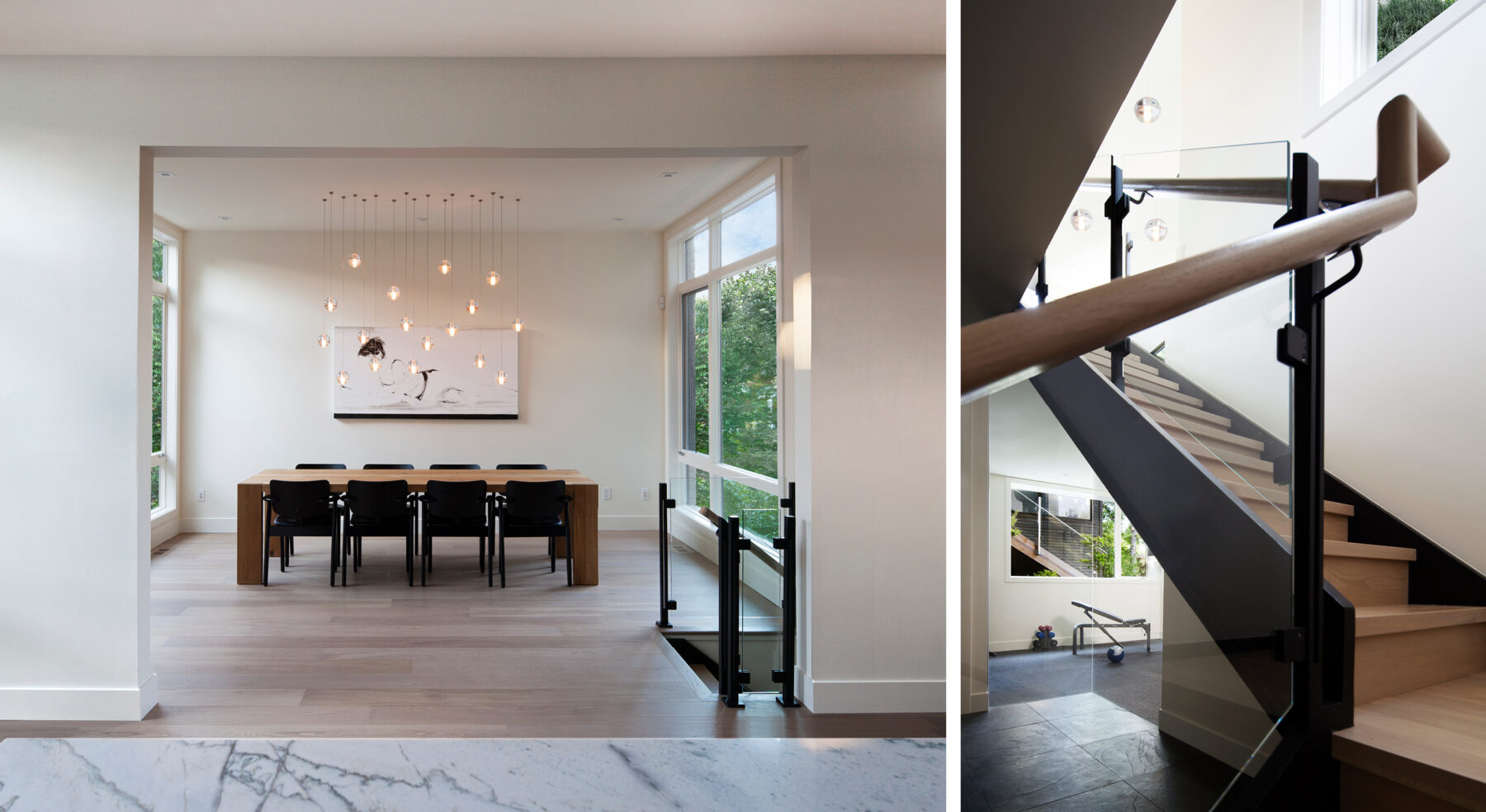Split view of Westboro Home dining area and stair railing detail