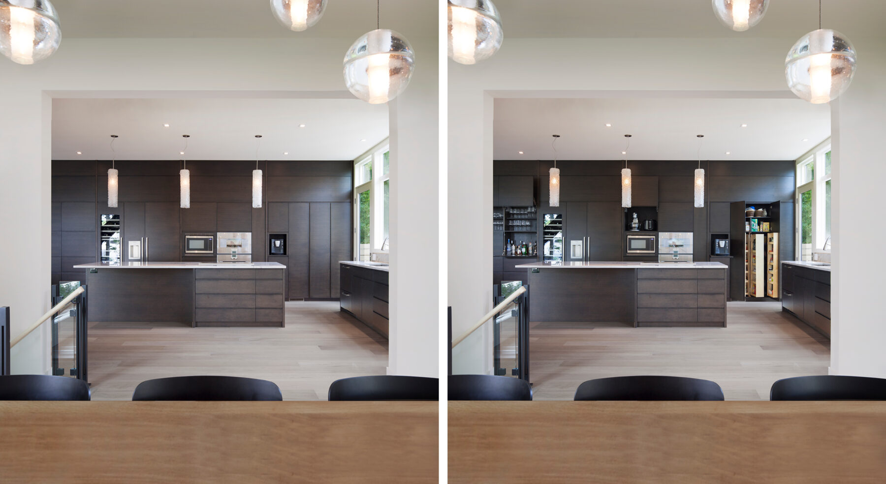 Split view of Westboro Home kitchen cabinets open and closed
