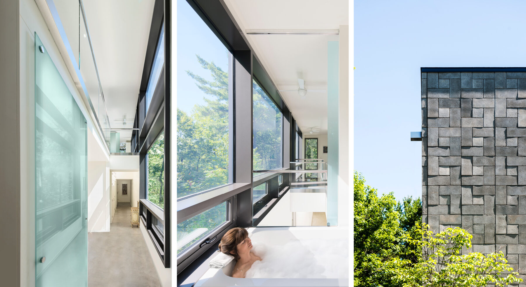 Split view of Chelsea Hill House indoor and exterior details and master bathroom