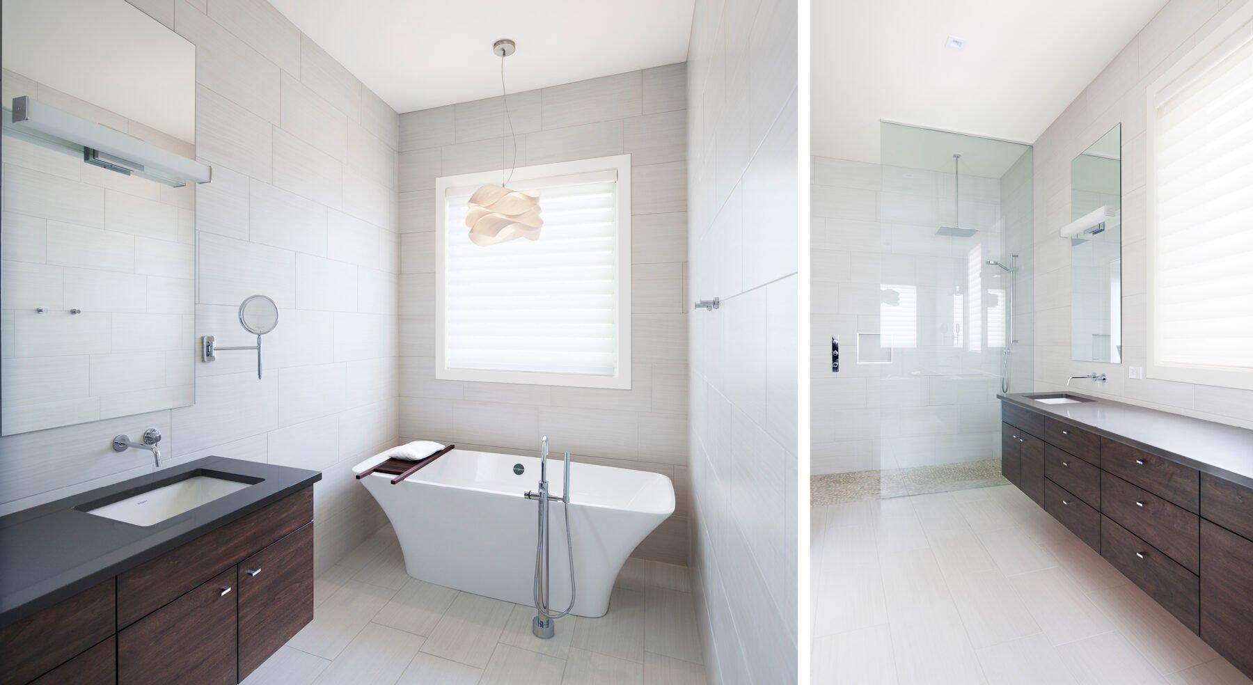 Split view of Westboro Home master bathroom sink shower and bathtub