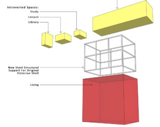 Diagram of reconfigured primary spaces of Echo House, deconstructed