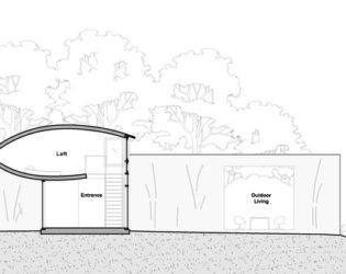 Side-view of Hill-Maheux Cottage visualization