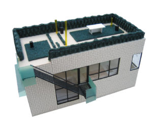 Angled exterior view of Chelsea Hill House model