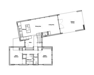 Ground-level floorplan of Hill-Maheux Cottage