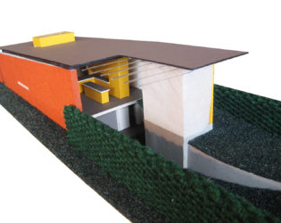 Partial view of interior of Stacey-Turley Residence house model