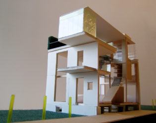 Front-angled view of Echo House model