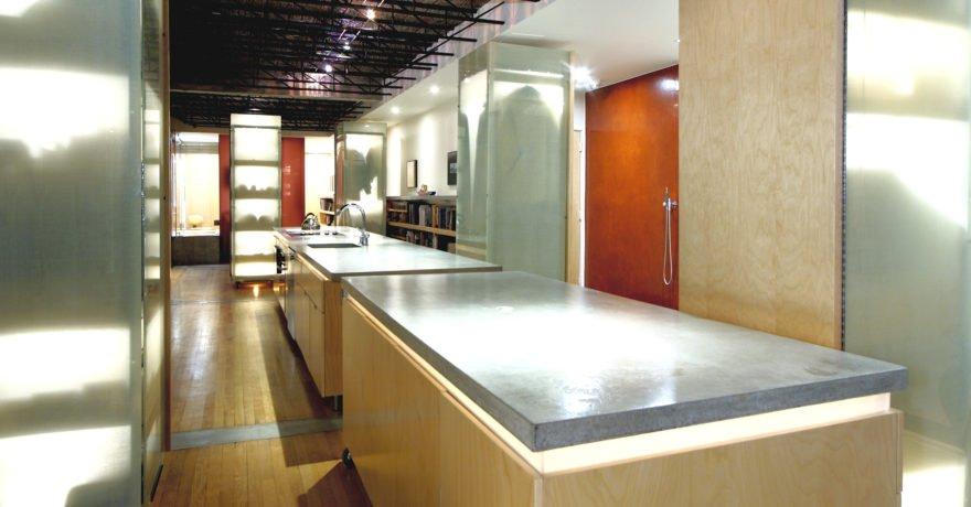 Angled photo of kitchen in Ottawa Loft