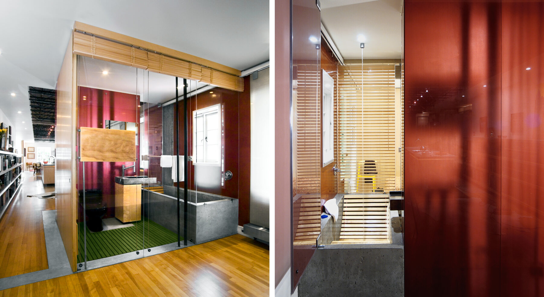 Split view of bathroom from outside and of bathtub in Ottawa Loft