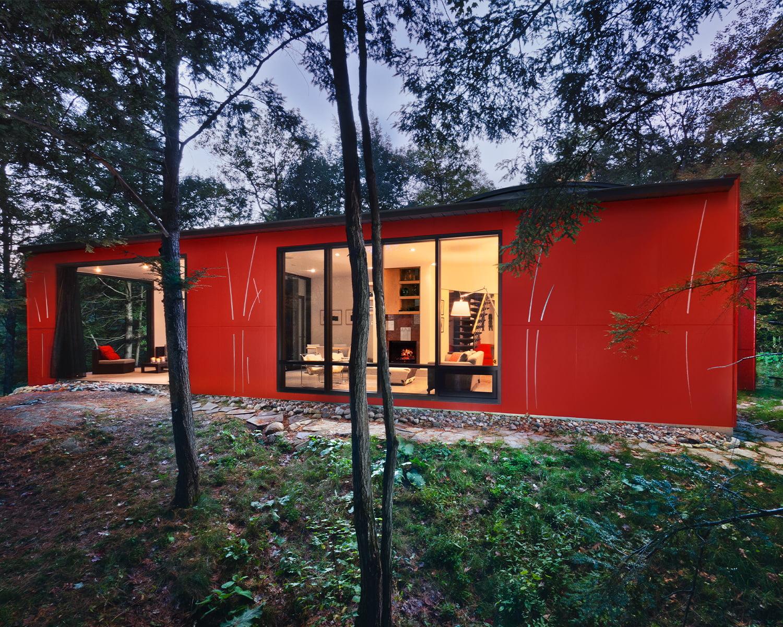 Kariouk Architects Hill Maheux project exterior shot dusk