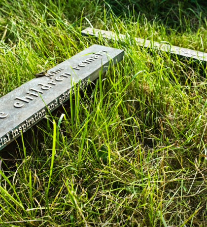 Angled close-up of Cemetery Markers