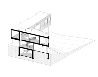 Angled view of DASH Home stairs details 3D Floorplan