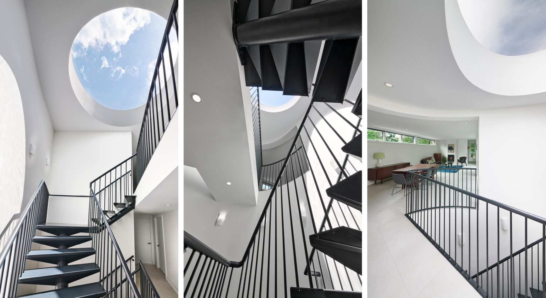 Detailed view of DASH modern home design staircase and skylight