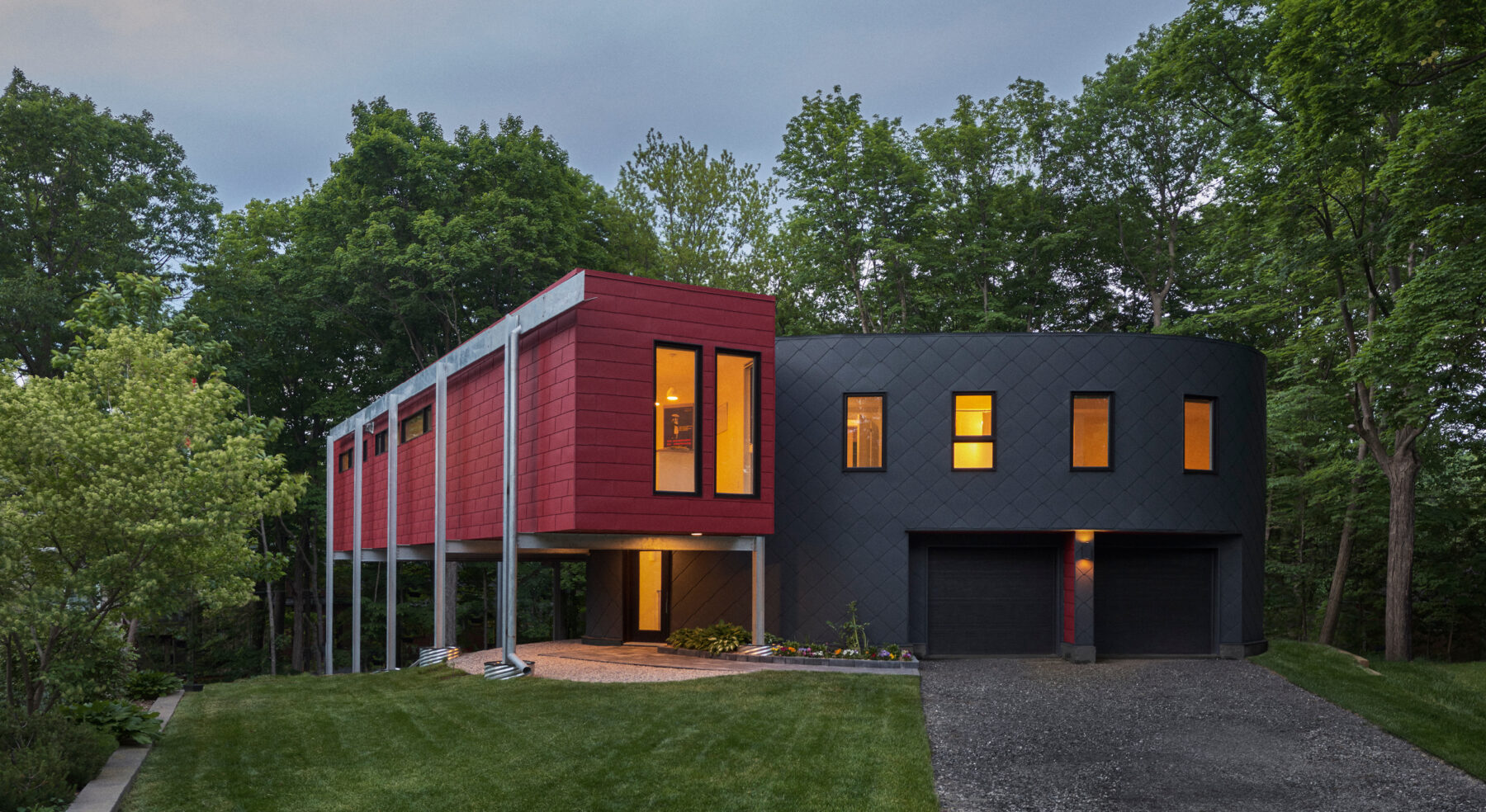 DASH Home project - wide view of modern home design front facade