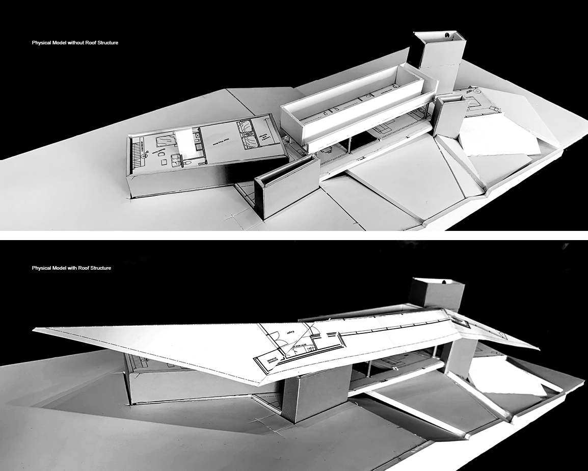 Split view of Forest Retreat physical model with roof details