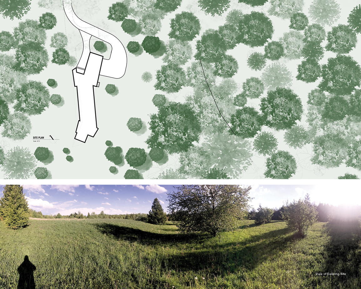 Split view of Forest Retreat site plan and view of existing site