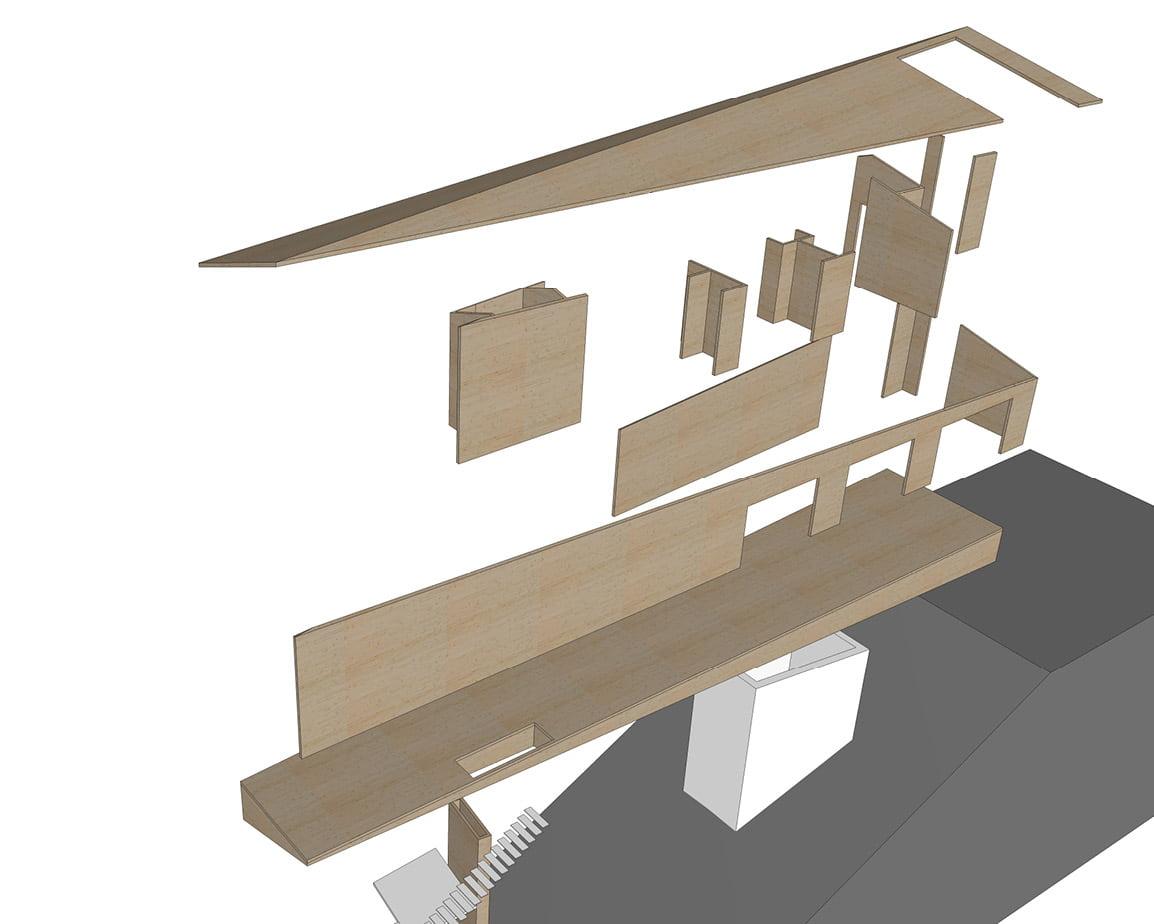 cross laminated timber 3D fabrication rendering