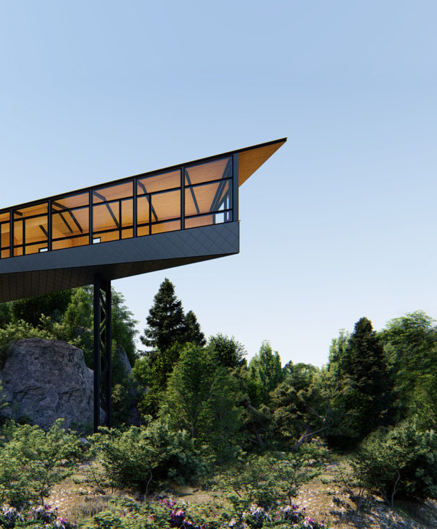 cross laminated timber cottage rendering exterior view from 20 meters above a lake